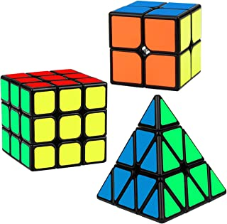 Speed Cube Set, Libay Magic Cube Bundle of 2x2 3x3 Pyramid Smooth Sticker Puzzle Cube Toy for Kids (3 Pack)