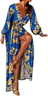 Kangma Womens Sexy Long Sleeve Deep V Neck Dress Printed Cocktail Prom Gown Dress