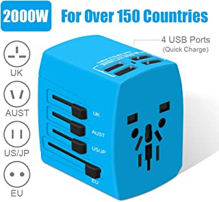 Travel Adapter, 2000W International Power Adapter, All in One Universal Power Adapter with 4 Quick Charge USB 3.0 Ports, for UK, EU, AU, US, Over 200 Countries (Blue)