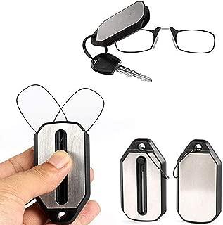 JennyW Fashion Unisex Foldable Nose Clip Reading Glasses Mini Eyeglasses with Keychain Fob Strength(2.0)