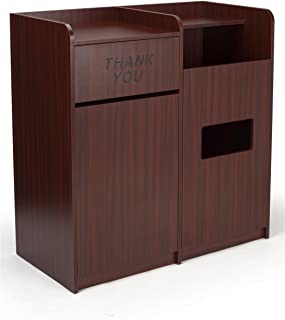Displays2go, Dual Trash Bins for Garbage and Recycling, Laminated Particle Board, Melamine – Mahogany (LCKDSSCFSM)