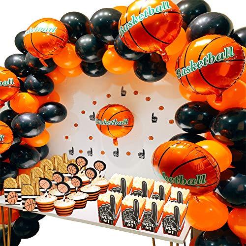 foci cozi Basketball Party Supplies Kit,Basketball Foil Balloons,Latex Balloons,Fingers Basketballs Paper Confetti for Boys Sports Theme Birthday,Boys World Sports Game Celebration Décor