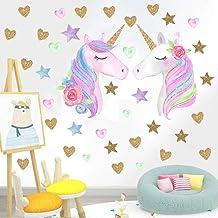 KingYH 2 vellen 60* 40 cm Eenhoorn Muursticker Stickers Vinyl Eenhoorn Decoratie Papier Stick op Muur voor Meisjes Kids Sl...