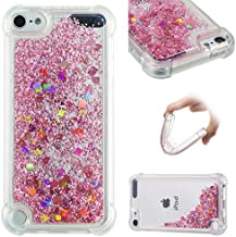 iPod Touch 6 Case,iPod Touch 5 Case,Ankoe Shockproof Clear Colorful Flowing Liquid Floating Luxury Bling Glitter Sparkle Flexible Protective Shell Bumper Case for iPod Touch 6/iPod Touch 5 (Rose Gold)