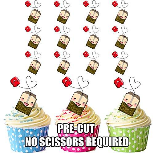 Lot de 12 sachets de thé prédécoupés comestibles pour cupcakes et gâteaux