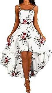 Vestido de Flores de Verano con Parte Delantera Corta, Espalda Larga, Vestido de Fiesta Informal para Mujer