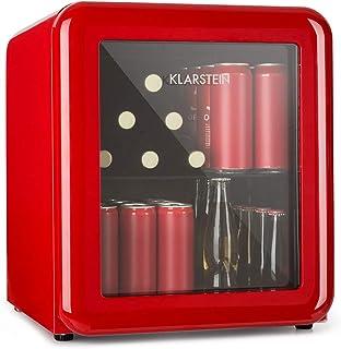 Klarstein Poplife Nevera de Bebidas - Mini Bar, Nevera Retro, 0-10°C, Solo 39 dB, Protege el Medio Ambiente, Puerta con Cristal Doble, Diseño Retro, Rojo