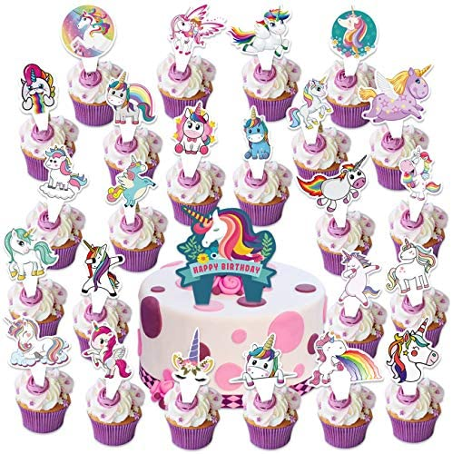 25PCS Unicorn Cake Topper Cupcake Toppers Birthday Decorations for Girls Kids Happy Birthday product image