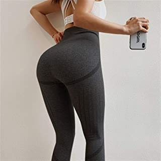 Jinqiuyuan High Waist Vital Seamless Leggings Gym Leggings Sport Fitness Leginsy Sportowe Yoga Pants Scrunch Butt Leggings Running Tights (Color : B, Size : L)
