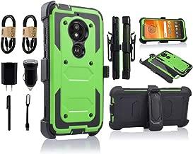 Moto E5 Play Case, Motorola E5 Cruise Holster Clip, Shockproof Heavy Duty Built-in Screen Protector w/Belt Clip Kickstand for Moto E5 Play [Value Bundle] (Green)