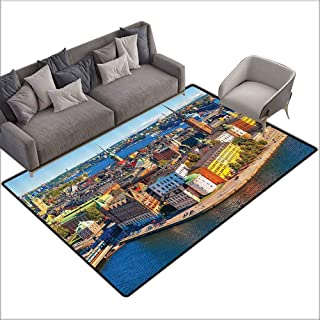 Polyester Rubber Door Mats Wanderlust Decor Collection,Scenic Summer Aerial Panorama of The Old Town Gamla Stan in Stockholm Sweden Image,Blue Yellow 80