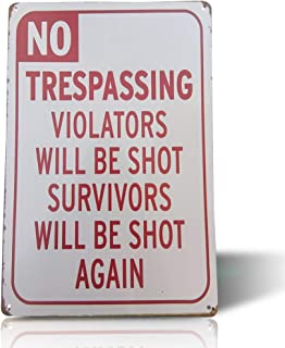 No Trespassing Hunting,Fishing /& Trapping Prohibited Aluminum Metal 8x12 Sign