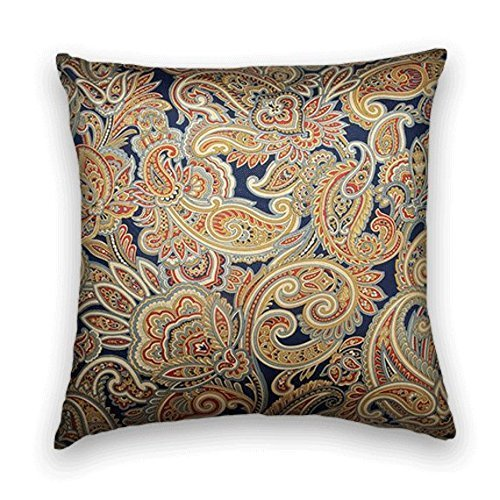 Gary S.Shop Navy Blue Red Gold Paisley Decorative Home Decor Pillow Case 18 x 18 inch
