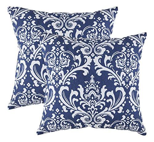TreeWool - Pack de 2 - Damasco Decorativo fundas de cojín, 100% algodón (50 x 50 cm / 20 x 20 pulgadas; Azul Marino)