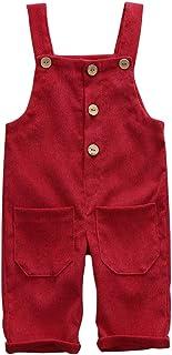 Greetuny Baby Girls Boys Unisex Velvet Suspenders Trousers for 6 Months - 3 Years