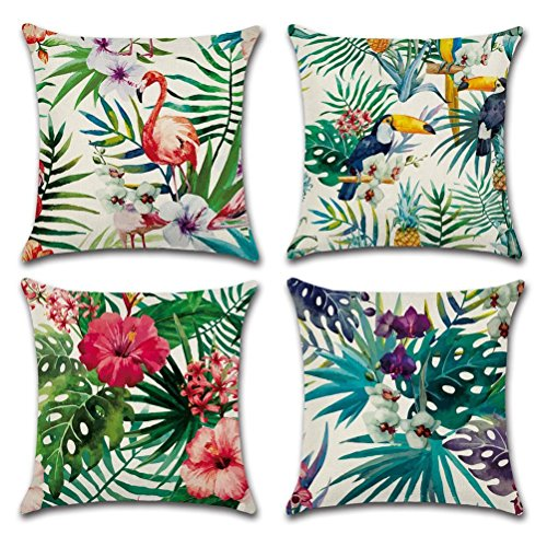 Gspirit 4 Pack Tropical Flamenco Flor Hojas Algodón Lino Throw Pillow Case Decorativo Funda e Almohada 45x45cm