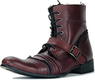 Suetar Mens Fashion Leather Steampunk Motorcycle Chukka Boots LB1904