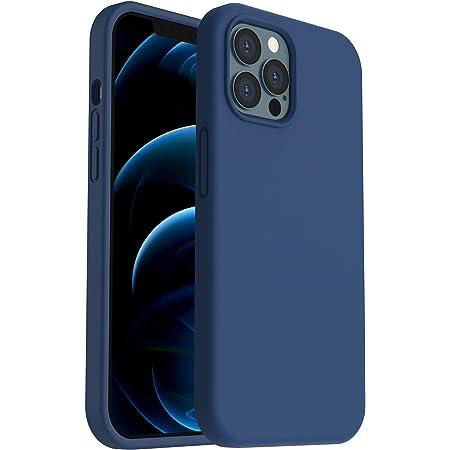 """ORNARTO Funda para iPhone 12 Pro MAX 6,7"""" de Silicona Líquida Reforzada, Protección de Cuerpo Completo de Goma Antichoque Bumper de Protección Case para iPhone 12 Pro MAX(2020) 6,7 Azul Marino"""