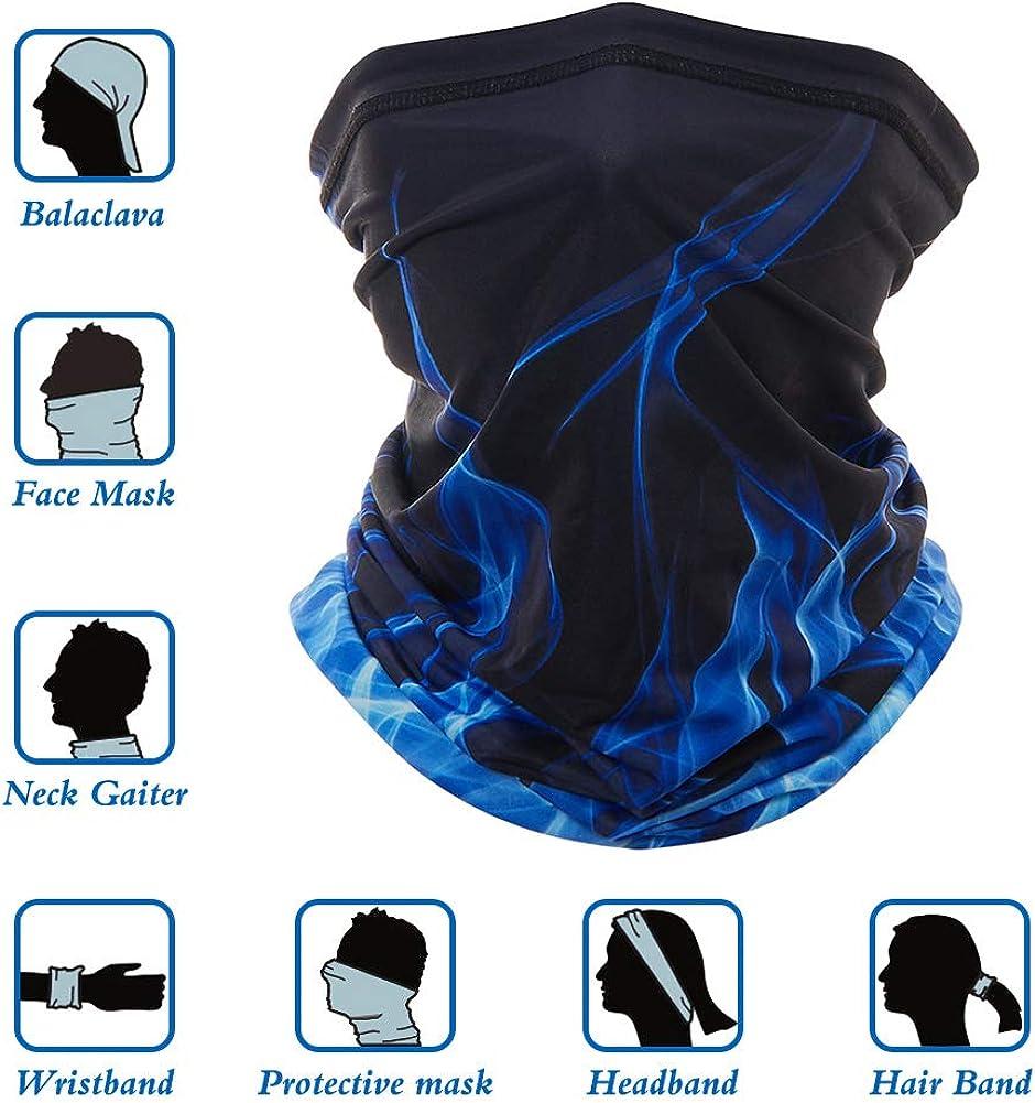RAISEVERN Face Cover Seamless Rave Bandanas Neck Gaiter Balaclavas Headbands Scarf Tube Headwrap Neckwarmer for Dust