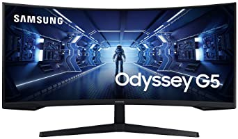 SAMSUNG 34-Inch Odyssey G5 Ultra-Wide Gaming Monitor with 1000R Curved Screen, 165Hz, 1ms, FreeSync Premium, WQHD...