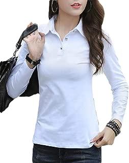 flywinner Womens Sport Top Long Sleeve Button Tee Solid T-Shirt