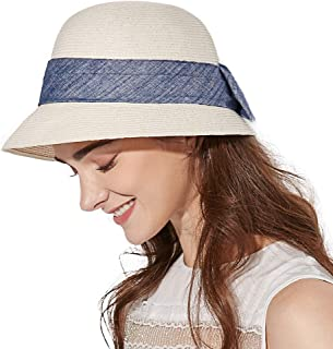 Jeff & Aimy Sun Hat for Women Wide Brim Summer Straw Beach Sunhat Fashion Fedora Packable & Adjustable 55-58CM
