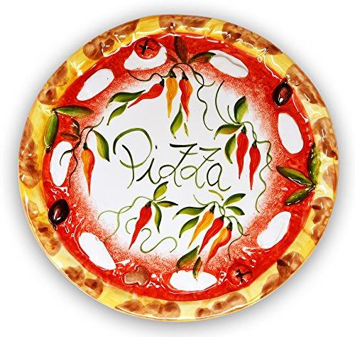 Lashuma Handgemachter Pizzateller Paprika aus Italienischer Keramik, Großer Teller Rund 33 cm