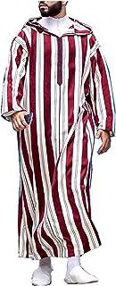 GaoYunQin Hommes Rayure Imprimée Encapuchonné Chemise de Nuit Vêtements de Nuit Musulman Décontracté en Vrac Robes Vintage