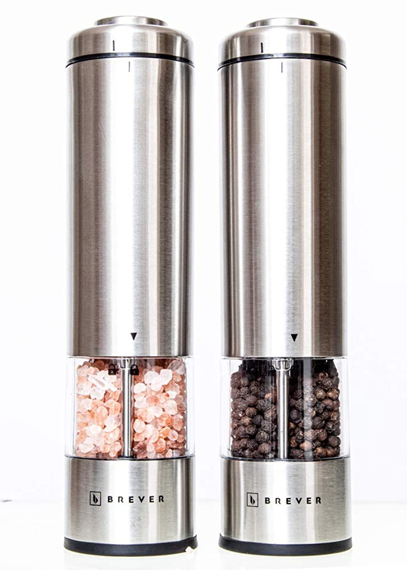 BREVER Premium Electric Salt & Pepper Grinder Set | With Free Himalayan Salt & Whole Black Peppercorn | Pack Of 2 Mills With free Mill Rest | Adjustable Coarse | LED Spotlight | Battery Operated