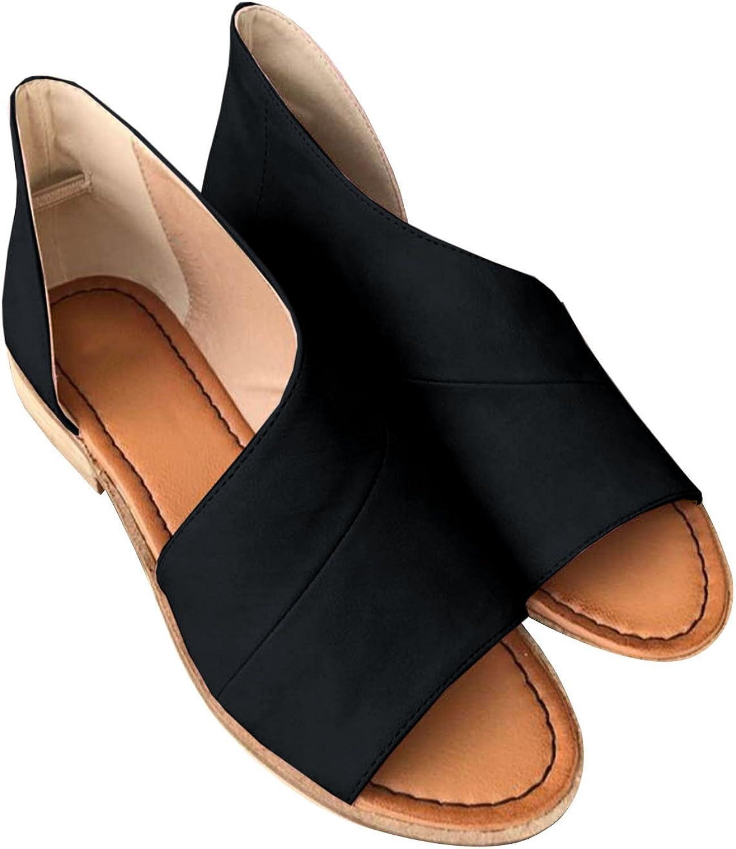 JeanyPole1 kvinnor Casual Slip on D'Orsay Flats Peep Toe Cutout Cutout Cutout Asymmetrisk Sandals skor Loafers  stora besparingar