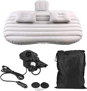 Colchón hinchable para coche, inflable, cómodo y portátil, apto para descansar y viajar de camping (negro, gris plateado)