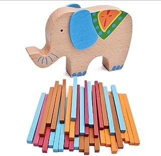 FQStech Kids First Balance Beam Colorful Elephant Blocks Sticks Wooden Toy
