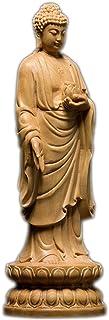 釈迦如来像 高級天然ツゲ木彫り釈迦牟尼仏立像 木製仏像 仏教美術品 黄楊 柘植 仏陀彫刻 ブッダ お釈迦様 専用化粧箱入り お手入れガイド同梱 (15センチ)
