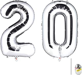 Huture 40 Inches Jumbo Digital Number Balloon Huge Giant Balloon Foil Mylar Balloons for Birthday Party Wedding Bridal Shower Engagement Photo Shoot Anniversary, Number 20 Silver Balloon