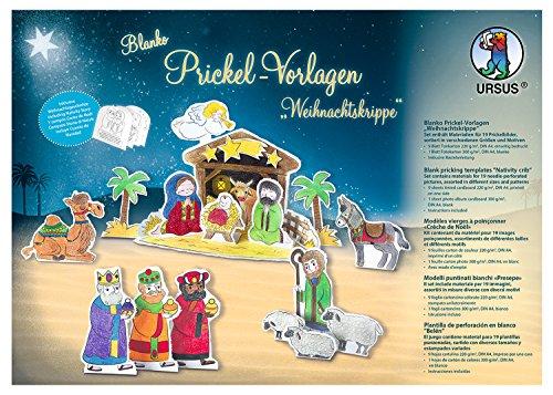 Ursus 21380099 Blanko Prickelvorlagen für eine Weihnachtskrippe, weiß