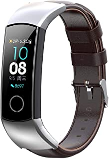 Shan-S Compatible for Huawei Honor 5/Honor 4ENC/CRS-B19/CRS-B19S Smart Watch, Fashion Genuine Leather Replacement Strap Breathable Wristband with Metal Adapter Bracelet Accessories