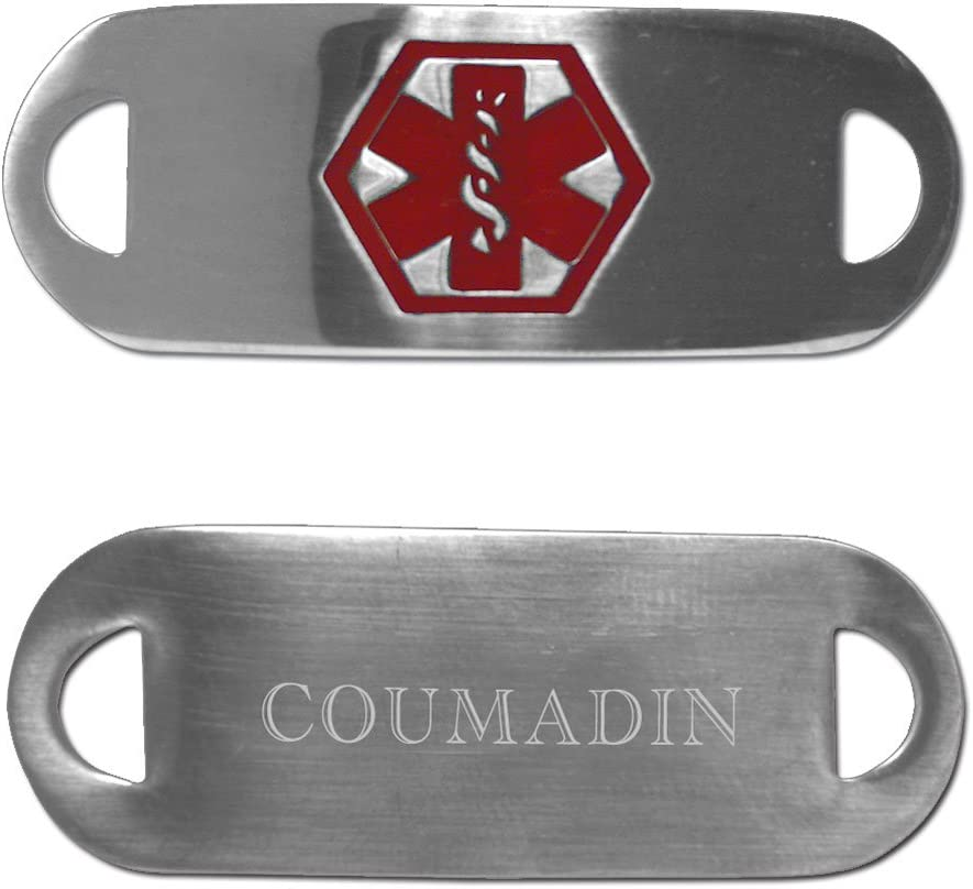 Medical latest Alert Stainless Virginia Beach Mall ID for ~COUMADIN Bracelet TAG