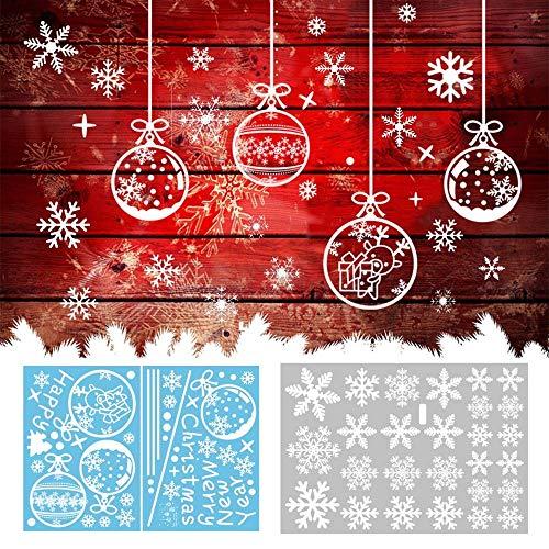 Kungfu Mall 81PCS Navidad Copo Nieve Ventana Pegatinas