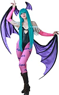 Women's Morrigan Aensland Cosplay Costume with Wings Leggings