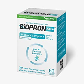 Biopron 50+ Probiotic Complex with Prebiotics Gut Health Dietary Supplement for Adults 50 Years and Older 120 (60+60) Count
