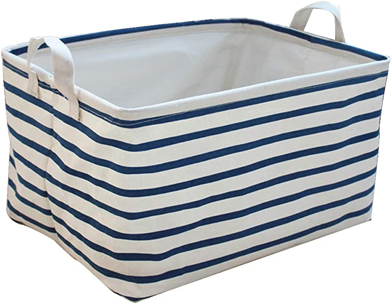 Cinotech Toy Storage Bins Canvas Collapsible Storage Basket With Handles Blue Striped Toy Organizer For Nursery Kid S Toys Closet Laundry Gift Basket 15 11 8 8 7