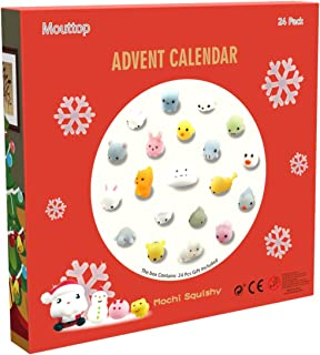 Mouttop Advent Calendar, 24 Mochi Squishies Including Santa Different Surprise Every Day Non-Toxic,Reusable,Cute and Adorable