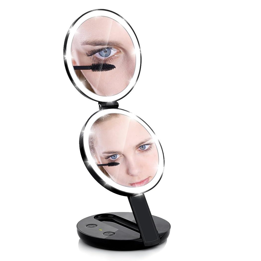 談話カセット押す化粧鏡 電池給電 二面鏡 手鏡 ミラー 10倍拡大鏡 折り畳み式 等倍鏡 かがみ 丸型 女優 おしゃれ ハンド コンパクト 携帯ミラー (Black)