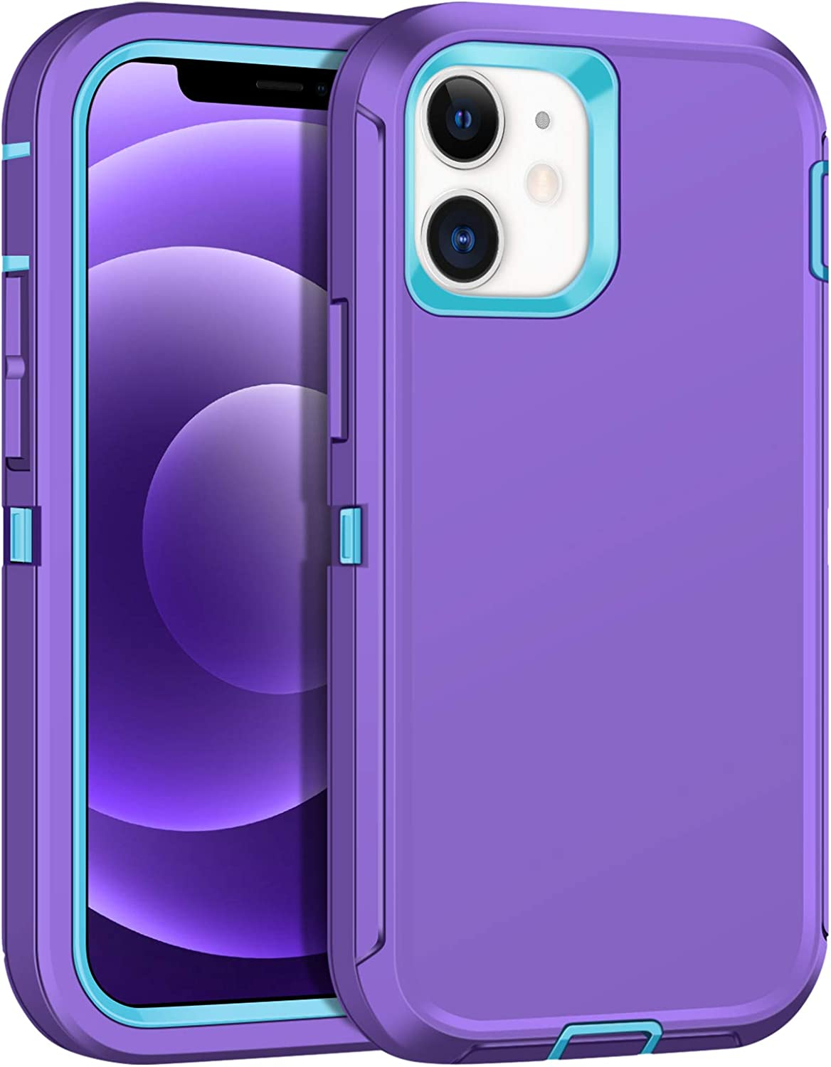 JAKPAK Case Compatible with iPhone 12 Case iPhone 12 Pro Case Heavy Duty Shockproof Protective Shell Hard PC Bumper Soft TPU Back Cover Compatible with iPhone 12 iPhone 12 Pro 6.1 inch Purple