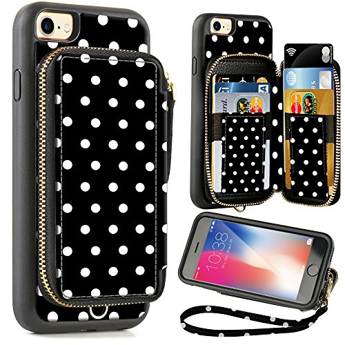 ZVE Wallet Case for Apple iPhone 8 and iPhone 7, 4.7 inch, Zipper Wallet Case with Credit Card Holder Slot Handbag Purse Wrist Strap Print Case for Apple iPhone 8/7 4.7 inch - Polka Dots