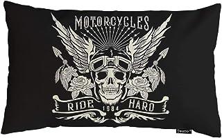 Swono Tattoo-Kissenbezug, Motorrad-Totenkopf-Motiv, mit Helm