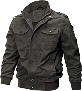 LABEYZON Mens Outdoor Military Jacket Casual Cargo Cotton Stand Collar Windbreaker Bomber Jacket