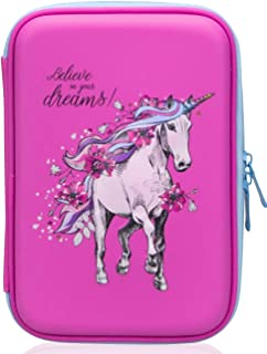 Girls Pencil Case | Cute Preschool, Kindergarten, and Elementary Pen Holder With Compartments |Toddler Pink School Zipper Pouch (White Unicorn)