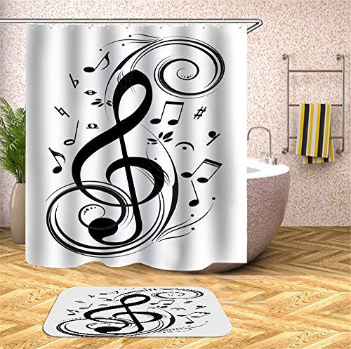 ChickwinCortinadeDuchaCortinas Baño ImpermeableAntimohoPoliéster 3DEn Blanco y Negro ImpresiónCortina bañera CortinadeBañeraLavableaMáquina con12Anillas (Nota Musical,150x180cm)