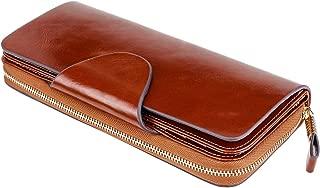 Itslife Luxury Women's RFID Blocking Tri-fold Leather Wallet Zipper Ladies Clutch